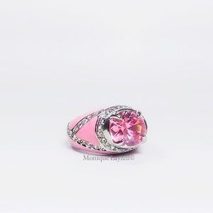 Jewelry - Pink Crystal Pink Enamel Silver tone Cocktail Ring